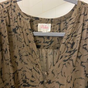 Parker silk taupe and black dress